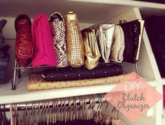 DIY: Clutch Organizer (using kitchen lid rack)