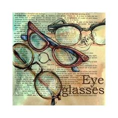 Flying Shoes Art Studio EYEGLASSES ON DISTRESSED, DICTIONARY PAGE