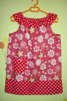 Pillowcase dress with a ruffled neckline tutorial