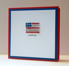 Cute and simple idea to bling an American Flag on a greeting or note card to add that Patriotic sparkle by Cristina at My Paper Secret
