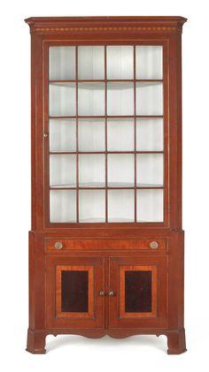 Lancaster County, Pennsylvania Federal cherry two-piece corner cupboard, ca. 1820.