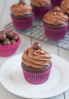 Malted Milk Chocolate Cupcakes by @Tracey Fox Wilhelmsen (Tracey's Culinary Adventures)