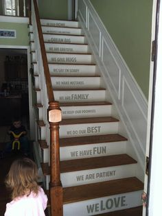 In our home STAIRS stairway Vinyl Decal Vinyl Decal Home Decor Door Wall Lettering Words Quotes via Etsy