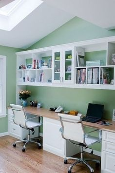 Sunlight is nice, can we do that?  White cabinet or brown?  Like the color green walls. Have bookcase run up the wall.  Some open space for books, but use tall doors on some.   Could be in guest room for sewing space and Avery work space. wall colors, homework station, office spaces, desk space, work stations, work areas, home offices, kid, craft rooms