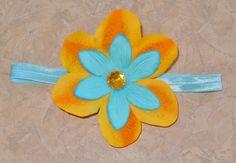Custom Tropical Flower on elastic headband!