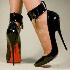 fashion, high heel, woman shoes, locks, pump, black heels, christian louboutin, key, stiletto