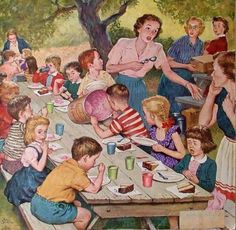 Amos Sewell (1901 – 1983, American) family picnic, 1950s, famili, ice cream, family reunions, amo sewel, party looks, kid parties, icecream