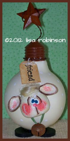 hand painted friend lamb recycled light bulb hp tag by primchick, $25.00