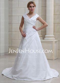 Wedding Dresses - $121.89 - A-Line/Princess Off-the-Shoulder Court Train Taffeta Wedding Dresses With Ruffle (002012105) http://jenjenhouse.com/A-Line-Princess-Off-The-Shoulder-Court-Train-Taffeta-Wedding-Dresses-With-Ruffle-002012105-g12105
