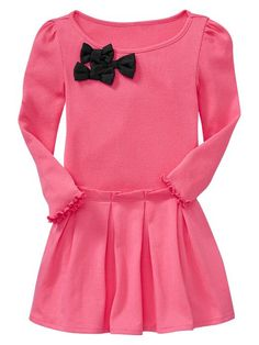 Loving this pink ribbed bow dress from Baby Gap