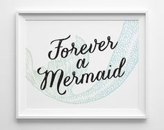Forever a Mermaid Print, Green Blue Mermaid Decor, Surf Art, Black Surf Decor, Turquoise Girls Bedroom Decor, Surfer Girl Teen Room Decor
