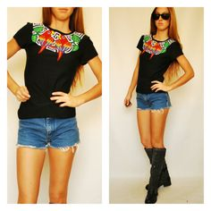 Vintage parrots cutout south american t shirt small for sale