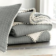 Audree Pom Pom Quilt - Gray | Ballard Designs