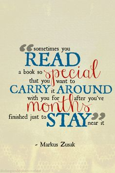 If Marcus Zusask really said this, that's awesome 'cause I did that with The Book Thief.   God that  book was good.