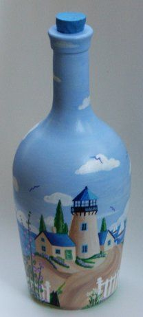 painted bottles, bottl art, paint bottl