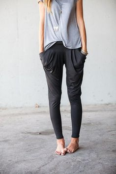 street style women, pocket, outfit, comfy casual, casual looks, surf style, long necklaces, harem pants, comfi pant