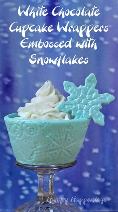 Hungry Happenings: Winter Edible Cupcake Wrappers made from white modeling chocolate - Shimmering Snowflake Design