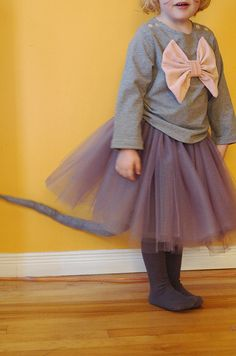 tutu from Little Things to Sew, Sailboat Top shirt with bow addition. Tail for Halloween costume.