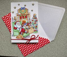 Art Impressions Sleep Santa Try Folds tryfolds Christmas trifold card with tree and fireplace.