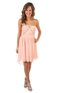 strapless chiffon high low party dress with chunky stone accents