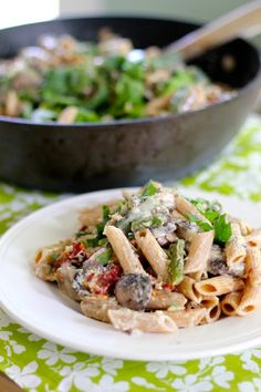 Penne with Mushrooms, Sun Dried Tomatoes and Asparagus