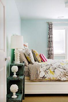 blue/gray/yellow bedroom