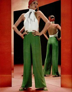 70's Fashion - Red Bandanna, White Bow-Front Top, and Green Pants and Heels