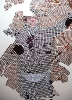 Karen M O'Leary.  Figure-ground study of New York City using hand cut paper.