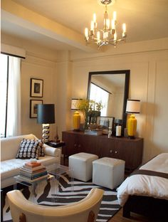 300 sq/ft apartment in NYC mirror, small apartments, living rooms, rug, studio apartments, color, lamp, small space decorating, small spaces