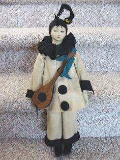 """18"""" Felt Alma or Lenci-type Pierrot Doll"""
