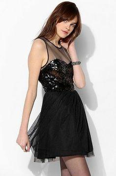 REVEL: Mesh Sequin Fit   Flare Dress