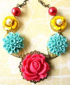 Flower Necklace Vintage Jewelry Bib Necklace Rose by zafirenia, $39.00