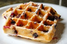 Healthy blueberry waffles.