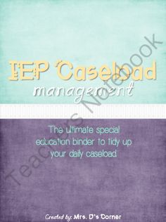 IEP Caseload Management Cloudy Sky - Ultimate IEP Special Education Binder from Mrs. D's Corner on TeachersNotebook.com -  (131 pages)  - Being a caseload manager and a teacher of children with special needs is a wonderful experience that, unfortunately, includes tons of special education jargon and paperwork that can sometimes become overwhelming. This binder is your key to tidying up your