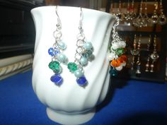 Carmilita's Simplicity Collection Handmade Dangle Earrings Pearls and Crystals: Roxy