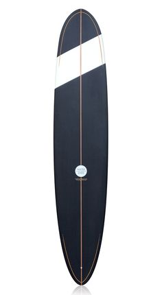 Watershed Performance Longboard 9'1 black with gold pin lines.