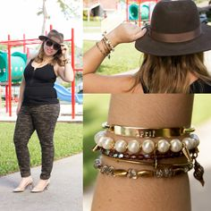 Playground Chic with floppy fedora, gold bracelet arm party with custom bracelet from TAudrey