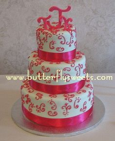 Pink and green wedding cake by Butterfly Sweets