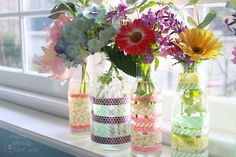 Simple washi tape vases