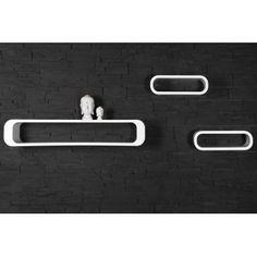 Retro design floating shelves in white 3pcs wooden shelving unit - www.neofurn.co.uk