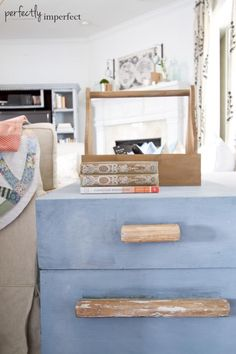 Trunk Side Table Makeover with #Miss Mustard Seed Milk Paint in French Enamel with White Wax.  Looks like faded denim!