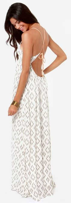 Ivory Print Backless Maxi Dress