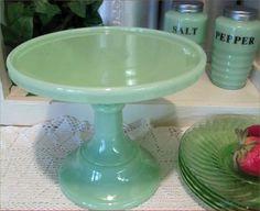 JADEITE JADITE GREEN MILK Glass PEDESTAL CAKE CUPCAKE PASTRY BAKERS STAND PLATE | eBay