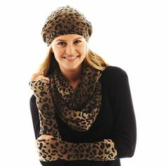Animal Print Beret, Gloves or Scarf - jcpenney