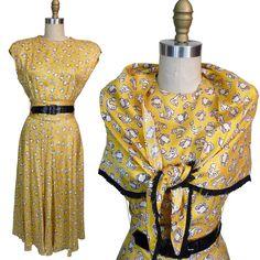 1940s Ellen Kaye Conversational Print Dress with Matching Fringe Shawl
