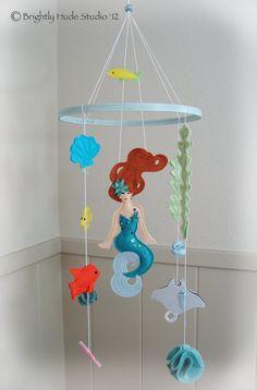 Mermaid Nursery Decor: Felt Mermaid & Ocean Creatures Nursery Baby Crib Mobile