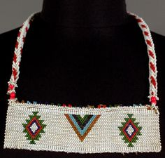 South Africa | Beaded panel necklace ~ isibebe ~ from the Zulu people | Glass beads and cotton | 20th century