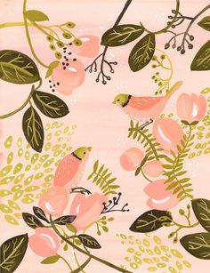 Peach Birds Print by amberalexander on Etsy, $35.00  Normalyl i'm not all about such a girly color, but this makes me happy.