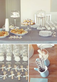 Baby Shower Tablescape in cream + pale blue. Elegant.
