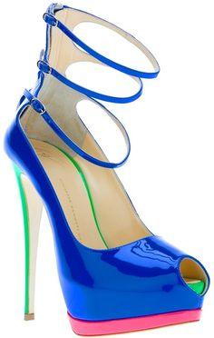 Giuseppe Zanotti Three Strap Shoe - Lyst fashion, three strap, giuseppe zanotti, giusepp zanotti, zanotti design, heel, black shoes, strap shoe, giuseppezanotti